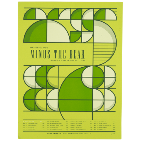 Menos El Oso 10 Year Anniversary Tour Poster - Green