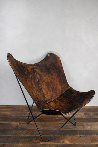 Butterfly Cow Hide Chair with Foot Stool