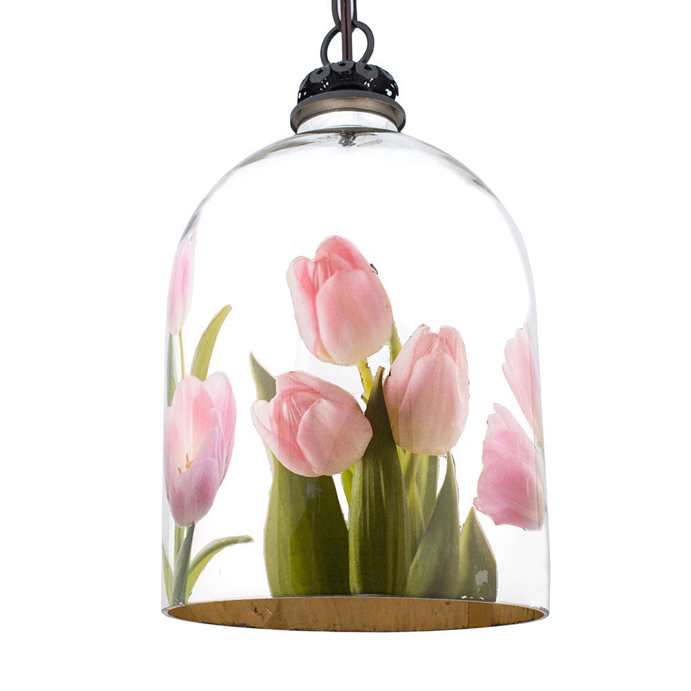 Bell jar pendant light with pink tulips dsirant aloadofball Image collections