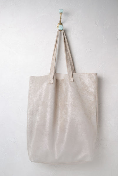 Cava Shimmer Leather Tote Cord