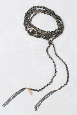 Multi-Purpose Necklace w Semi-Precious Center - Gunmetal