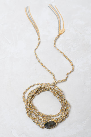 Multi-Purpose Necklace w Semi-Precious Center - Gold/Silver