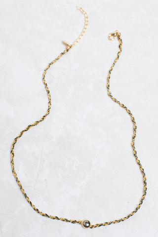 Semi-Precious Center Necklace/Bracelet - Gold