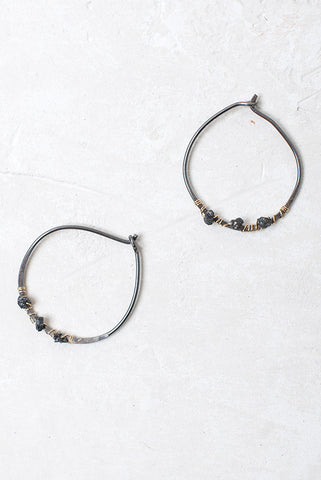 Rough Cut Diamond Hoop Earrings Blackened Sterling