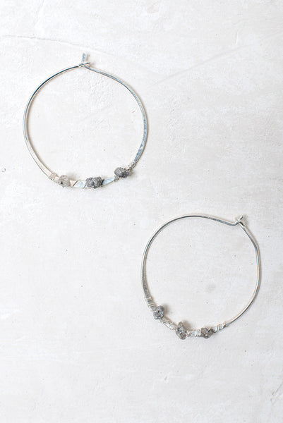 Raw Diamonds Hoop Earrings - Sterling Silver