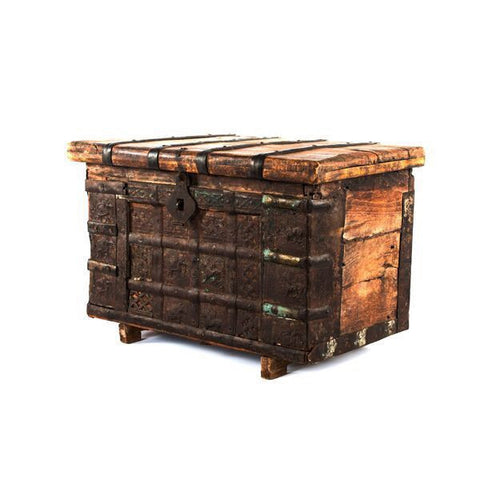 Antique Asian Chest with Copper Design