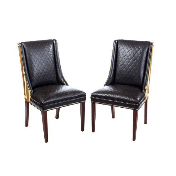 Parsons Chair in Black Leather & Fabric