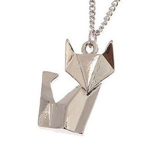 Origami Sitting Cat Necklace