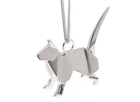 Origami Standing Cat Necklace