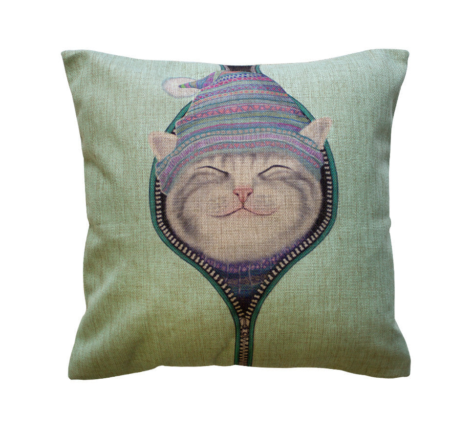 Bundled Kitty Cat Toss Pillow