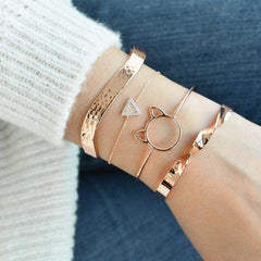 Golden Cat Face Bangle