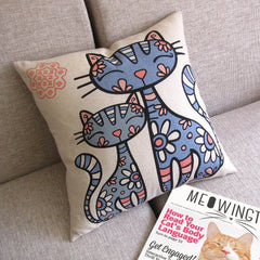 Hippie Kitty Toss Pillow