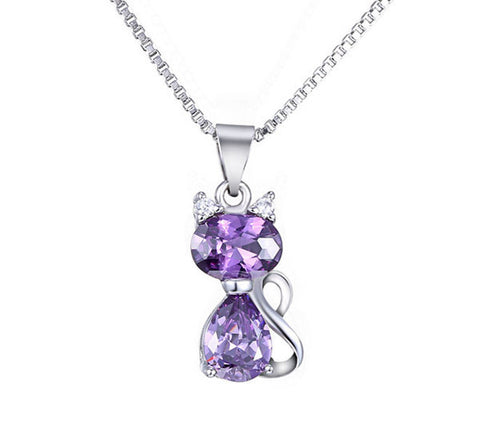 Zircon Gemstone Cat Necklace