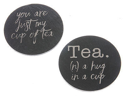 Welsh Slate Coasters with Tea themed engraving - Pack of 2
