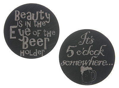 Welsh Slate Coasters with Beer themed engraving - Pack of 2