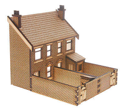 HS015 Low Relief  Rear Victorian Double Bay Window Houses OO Gauge Laser Cut