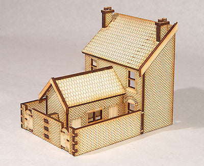 HS003 Low Relief Rear Victorian Double Terraced Houses OO Gauge Laser Cut Kit