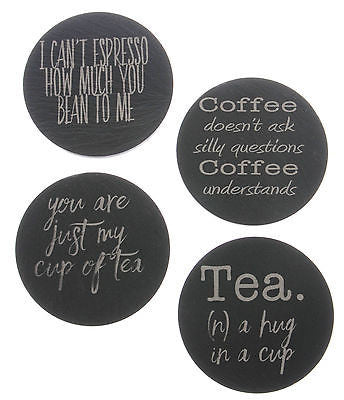 Welsh Slate Coasters with Tea & Coffee themed engraving - Pack of 4