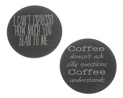 Welsh Slate Coasters with Coffee themed engraving - Pack of 2