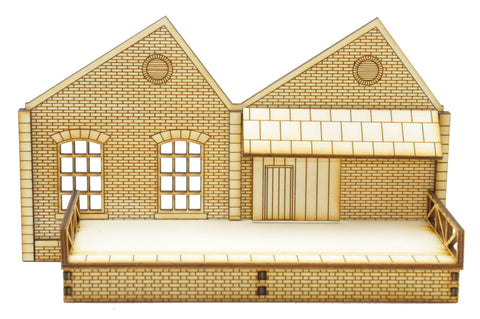 NL004 Ultra Low Relief Single Storey Northlight Factory with Railway level Good door and Platform Right Hand Peak OO Gauge Kit
