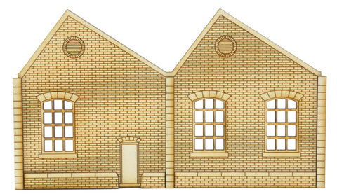 NL006 Ultra Low Relief Single Storey Northlight Factory with Door Left Hand Peak OO Gauge Kit