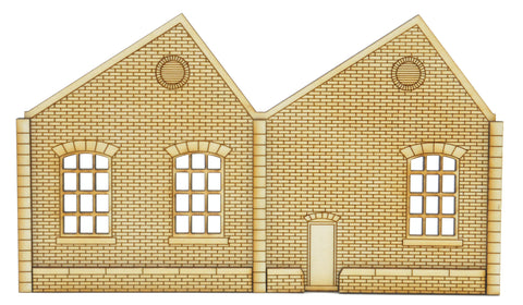 NL002 Ultra Low Relief Single Storey Northlight Factory with Door Right Hand Peak OO Gauge Kit