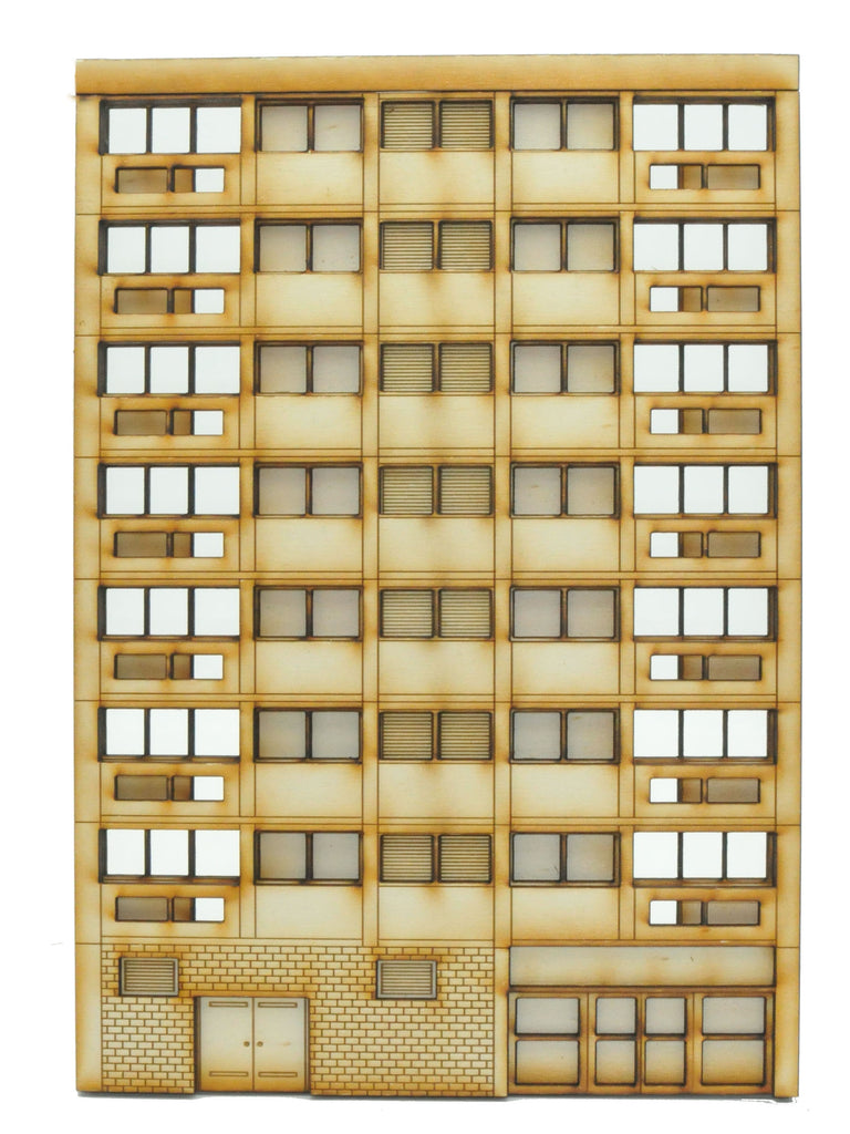 FL002 Right Hand Low Relief Block of Flats OO Gauge Laser Cut Kit
