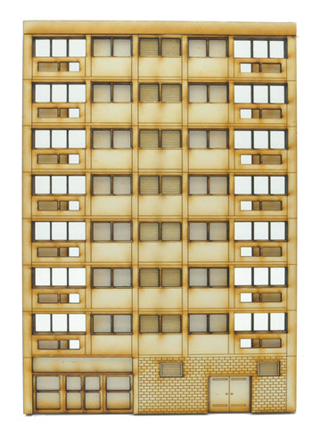FL001 Left Hand Low Relief Block of Flats OO Gauge Laser Cut Kit