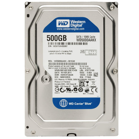 "Western Digital Blue 500GB 16MB Cache SATA 6.0Gb/s 3.5"" Internal Hard Drive"