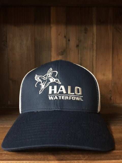 Navy and White Retro Trucker Cap with Halo Waterfowl Logo  c3fb8801a9d