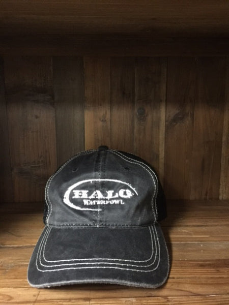 Black Mesh HALO Distressed Logo Hat