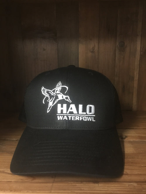 The AK Black on Black Trucker Cap with Full HALO Logo