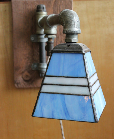 Hand-Crafted Industrial Stained Glass Lamp