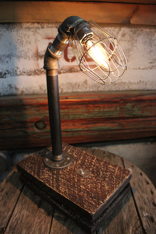 Hand-Crafted Industrial Wire Cage Lamp With Salvaged Wood Base