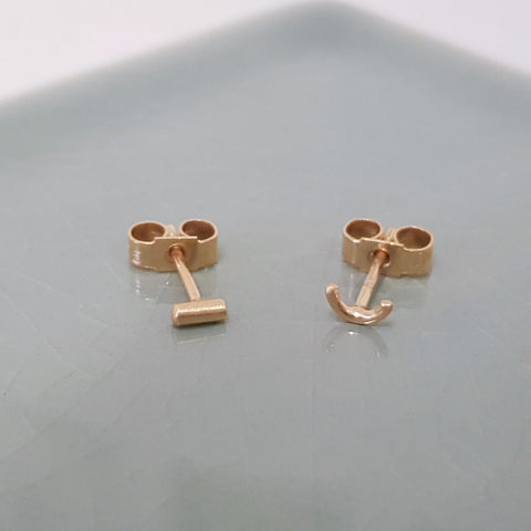 Mismatched Gold Studs - Semi Circle and Dash