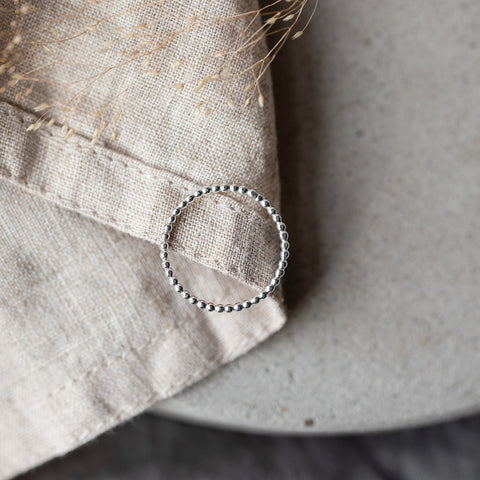 Bobbly Silver Stacking Ring