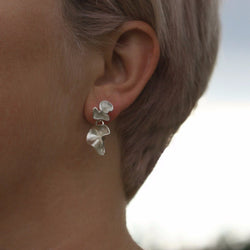 Silver Double Ruffle Studs, Earrings - Anna Calvert Jewellery Handmade in the  UK