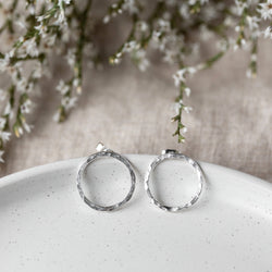 Large Hammered Circle Silver Studs