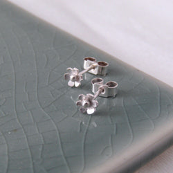Tiny Silver Hawthorn Flower Studs, Earrings - Anna Calvert Jewellery Handmade in the  UK