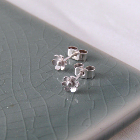 Tiny Silver Hawthorn Flower Stud Earrings - Anna Calvert Jewellery Handmade UK