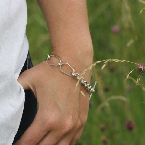 Silver Mixed Link Bracelet, Bracelet - Anna Calvert Jewellery Handmade in the  UK