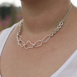 Silver Mixed Link Necklace, Necklace - Anna Calvert Jewellery Handmade in the  UK