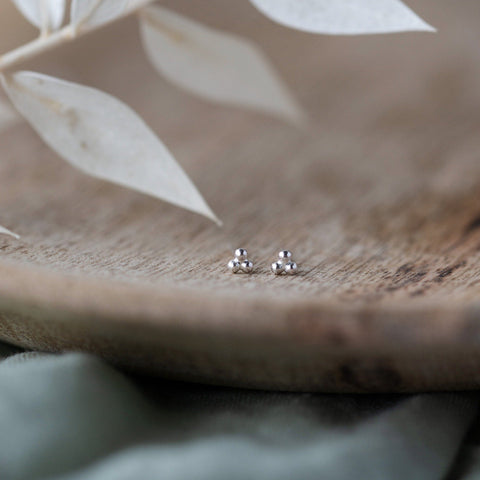Silver Triangle Stud Earrings - Handmade by Anna Calvert Jewellery UK