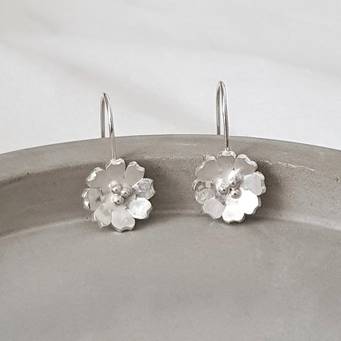 Dangly Silver Flower Hook Earrings - Anna Calvert Jewellery Handmade UK