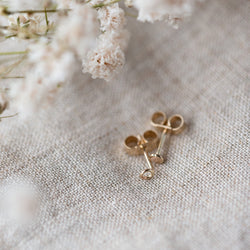 Mismatched Gold Studs - Tiny Circle and link