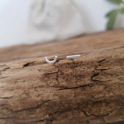 Mismatched Silver Studs - Semi Circle and Dash
