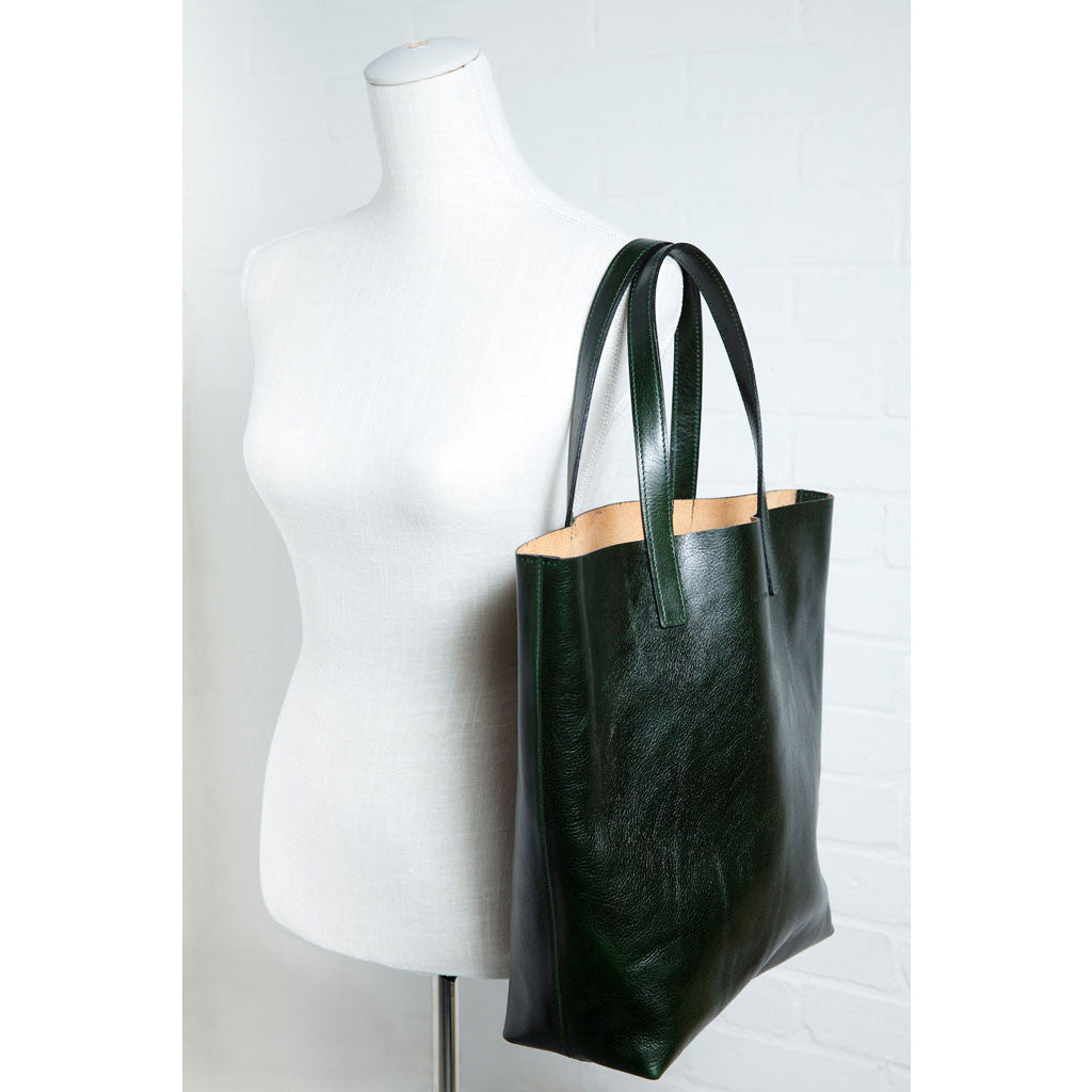 Mivo - bottle green leather tote