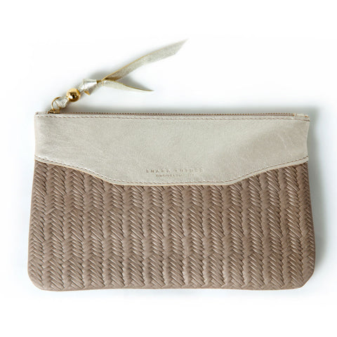 Lynne clutch - gold & tan