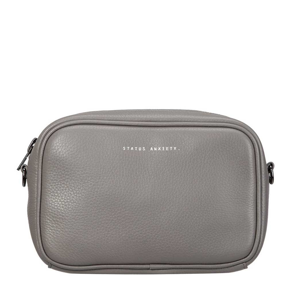 Status Anxiety cross body handbag cement grey front
