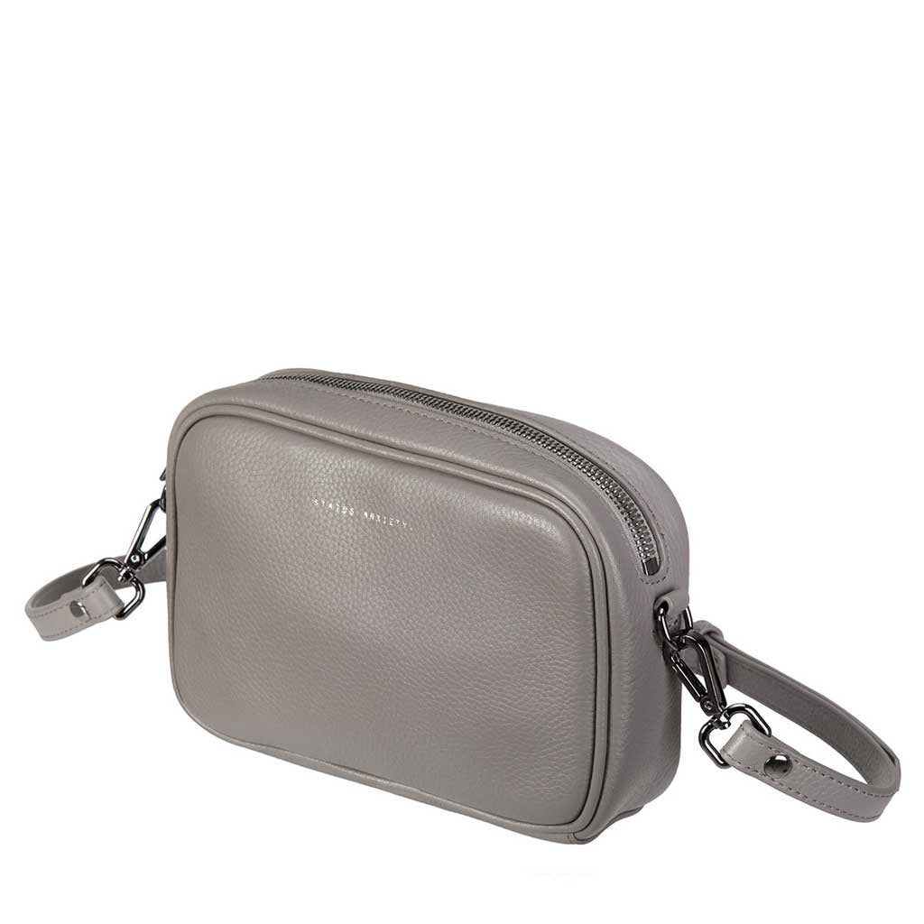 Status Anxiety cross body handbag cement grey side
